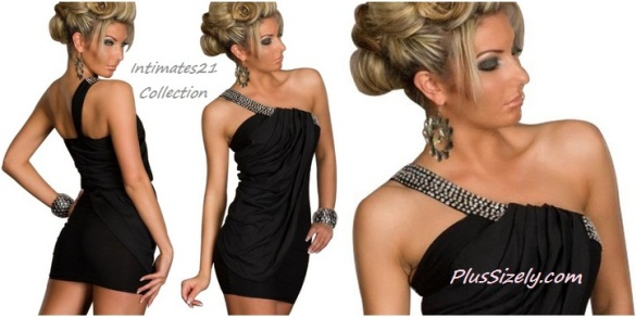 Black Plus Size Clubwear for Women One Shoulder Sexy Style