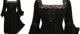 Black gothic dress plus size costume with sleeves