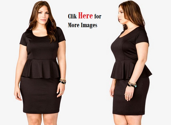 Black peplum dress plus size women sleeve length shoulder