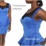 Blue clubwear dress for plus size women - Floral Lace