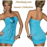Cheap Plus Size Club Dresses  Stylish Blue Strapless Ball Amour Collection