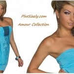 Cheap Plus Size Club Wear Amour Collection Stylish Blue Strapless Ball