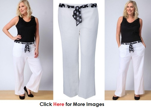Cheap plus size clothing under 50 dollars - White half trousers with print belt