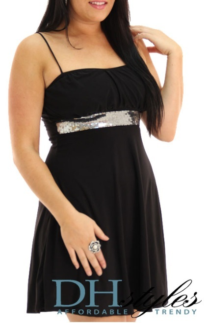 Cheap short black club dresses Sparkle Slinky
