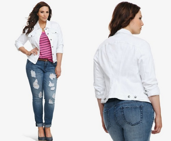 Plus Size Denim Jacket for Fashionable Style White denim jacket ...