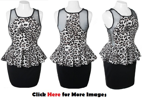 Mesh peplum dress plus size for Clubbing