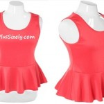 Pink Club Dresses for Juniors Plus Size Peplum Solid Coral Top