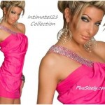 Pink Club Wear for Plus Size Women One Shoulder