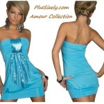 Plus Size Club Dresses Blue Elegant Strappless