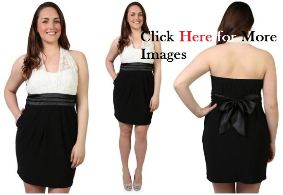 Plus Size Club Dresses for Teenagers Black and White Simple Chic