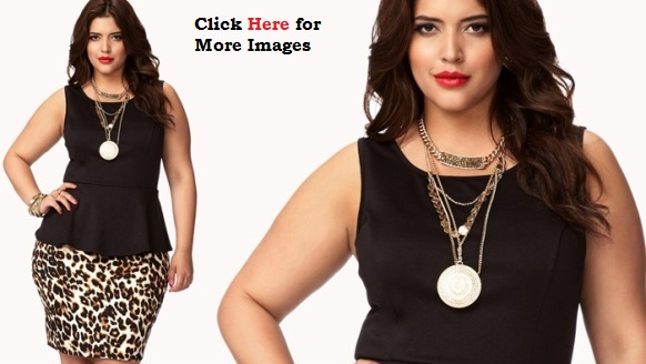 Plus Size Clubwear Dresses Leopard Print Peplum Dress
