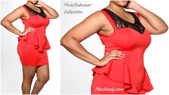 Plus Size Hot Pink Club Dress