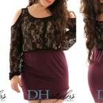 Plus size black lace club dresses knit cold shoulder