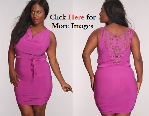 Plus size hot pink clubbing dresses Floral Mesh Party Magenta Neckline