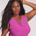 Plus size pink club dresses Magenta Neckline Floral Mesh Party