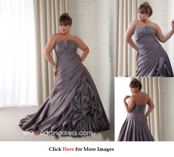 Plus size wedding dresses A line Strapless in Grey