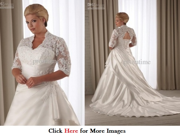 Plus Size White Wedding Dresses Bridal With Elbow