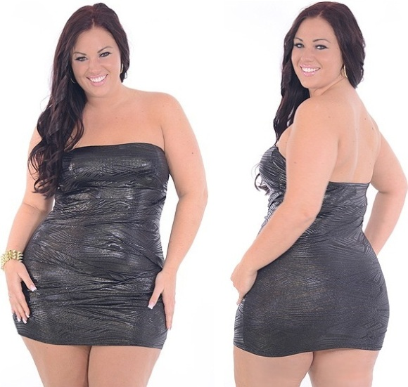 Too Good plus size night club dresses black glitter highlight