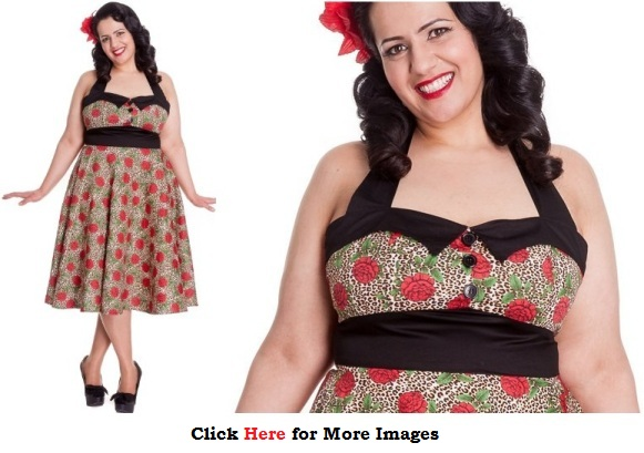 Vintage clothing plus size women - Red Print Party Dress