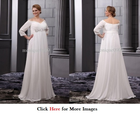 29e46801463 Wedding dresses with sleeves for plus size women long Chiffon Beads V Neck  V Neck Wedding Dress Long Sleeve