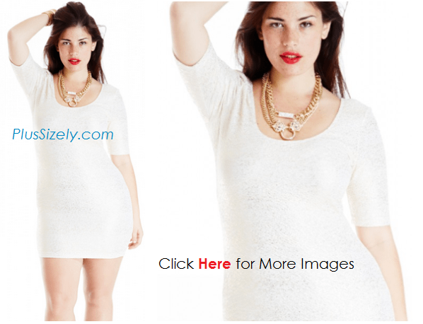 All white plus size scoop neck dresses