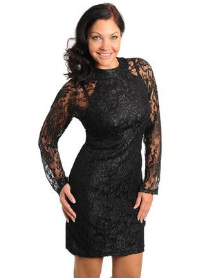 Black Lace Club Dresses Overlay Sheath