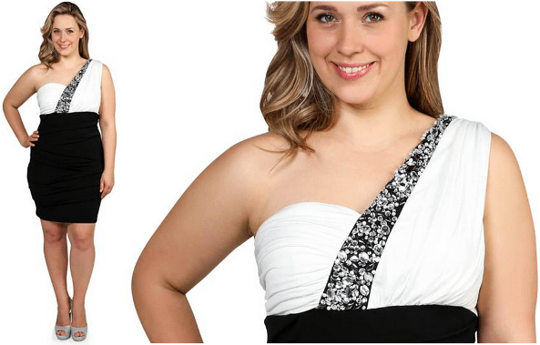 Black and white one shoulder dress for party - Embellished strap