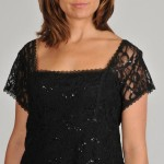 Black lace dress for curvy women short sleeve v neck