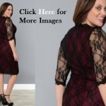 Black lace dress with sleeves plus size feminine scalloped