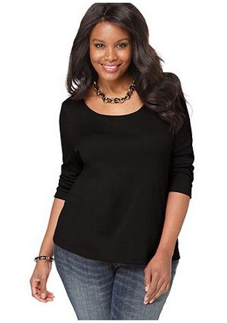 Black plus size club tops with sleeves