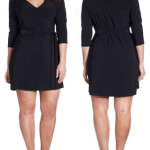 Black short skirts v neck dresses 1 2 sleeves