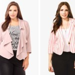 Elagant pink blazer for plus size women striped and collared