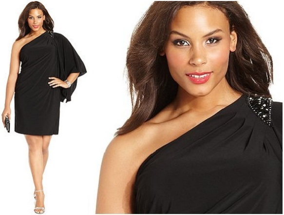 Little black plus size dress One Shoulder Beaded