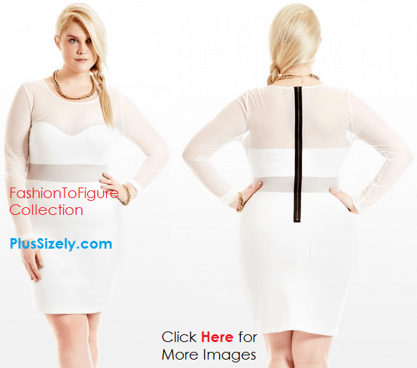 All White Plus Size Club Dresses Shining In The Night Long Sleeve