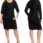 Plus size black dress with sleeves  Boatneck