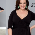 Plus size black dresses with 3 4 sleeves Harlow Faux Wrap