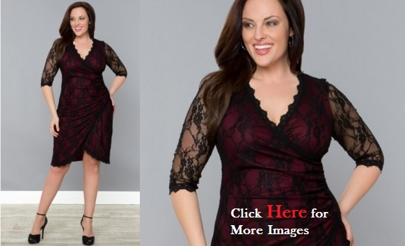 Plus size black dresses with lace sleeves Gigi Cinch Gowns