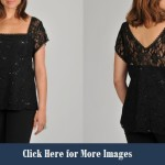Plus size black lace club dresses Sequin Top with sleeves