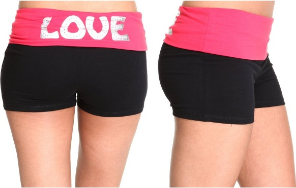 Plus size exercise clothes shorts yoga pink style