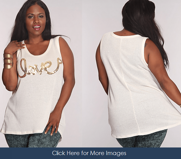 Plus size white sequin tank top