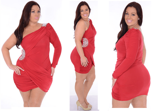 Club Dresses Plus Size Women Red one shoulder club dress for ...