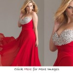 Red plus size formal gowns for summer Beaded Chiffon