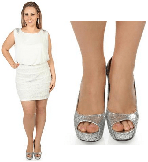 White Plus Size Club Dresses Pure Impression Shoes For All White