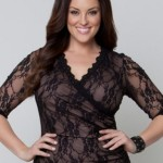 V Neck black lace cocktail dress 3 4 length sleeves