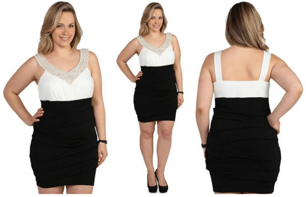 White Plus Size Nightclub Dresses for Women - Trim neckline