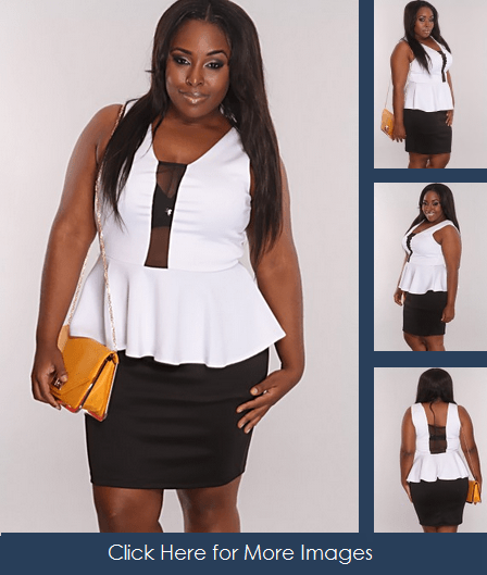 White and Black Mesh Peplum Skirt for Clubbing