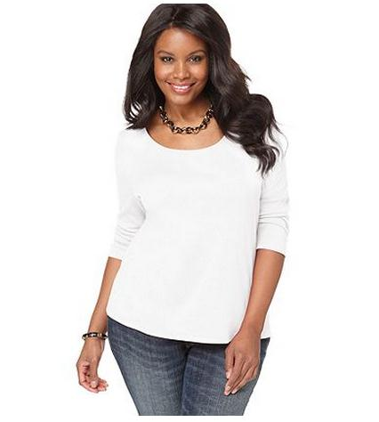 White plus size club tops sleeves