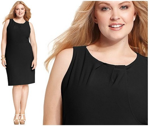 black plus size dresses for women Pleated Neck