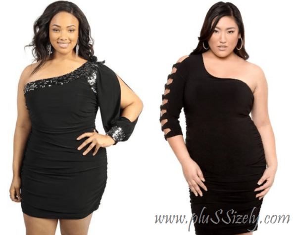 plus size one shoulder dresses club Image
