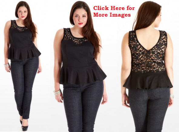 All Black Plus size lace peplum dress
